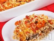 Рецепта Лесни печени свински пържоли на фурна с ориз и домати